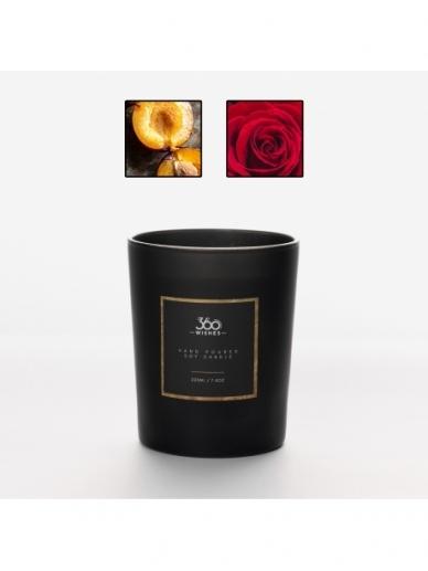 360wishes aromatinė žvakė   AITRIOJI SLYVA, ROŽĖ IR PAČIULIS