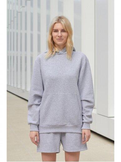 Moteriškas pilkas džemperis su gobtuvu 5
