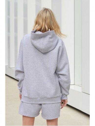 Moteriškas pilkas džemperis su gobtuvu 7