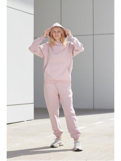 Moteriškas rožinis džemperis su gobtuvu 3