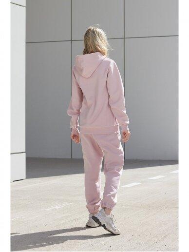 Moteriškas rožinis džemperis su gobtuvu 4