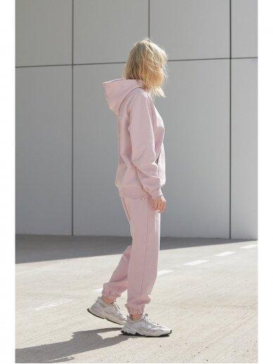 Moteriškas rožinis džemperis su gobtuvu 5