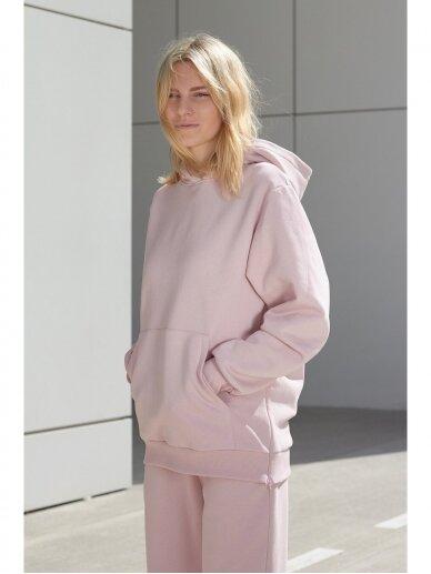 Moteriškas rožinis džemperis su gobtuvu 6