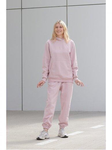 Moteriškas rožinis džemperis su gobtuvu