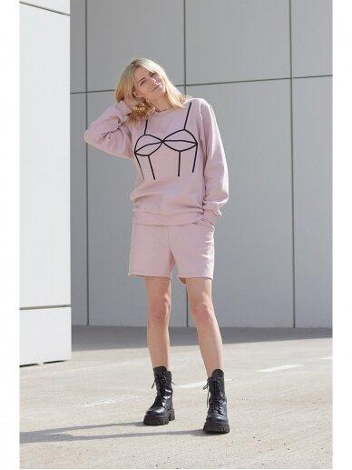 Moteriškas rožinis laisvalaikio džemperis 2