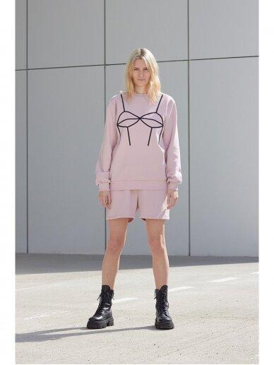 Moteriškas rožinis laisvalaikio džemperis